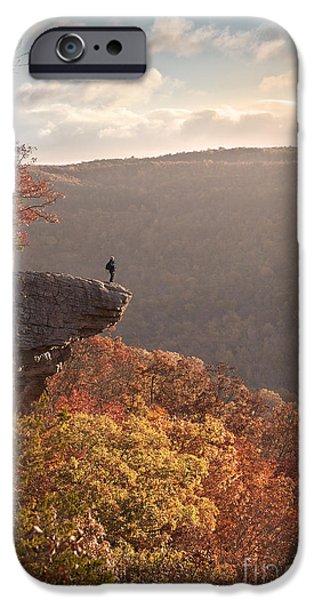 Arkansas iPhone Cases - Hiker on Hawksbill Crag in Arkansas iPhone Case by Brandon Alms