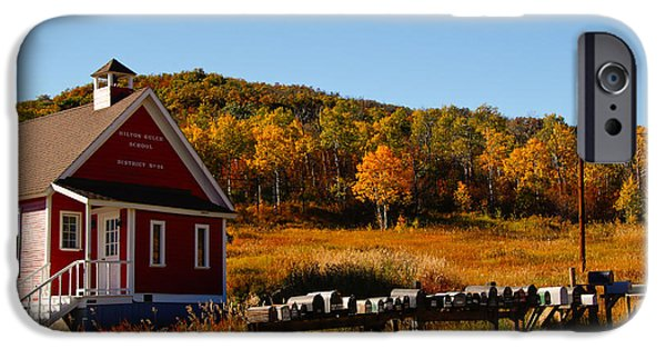 Red School House iPhone Cases - Hilton Gulch School House iPhone Case by Casey Barnett