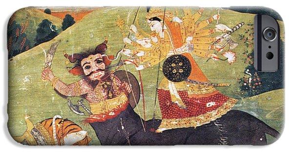 Hindu Goddess iPhone Cases - Hindu Goddess Durga Fights Mahishasur iPhone Case by Photo Researchers