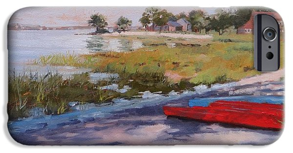 Red Canoe iPhone Cases - Hinghams Edge iPhone Case by Laura Lee Zanghetti