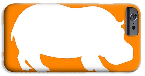 Hippopotamus Digital Art iPhone Cases - Hippo in Orange and White iPhone Case by Jackie Farnsworth