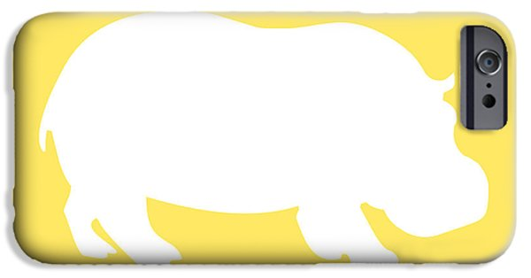 Hippopotamus Digital Art iPhone Cases - Hippo in Yellow and White iPhone Case by Jackie Farnsworth