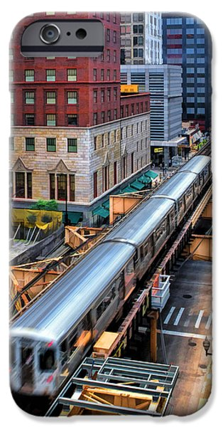 Chicago Paintings iPhone Cases - Historic Chicago El Train iPhone Case by Christopher Arndt