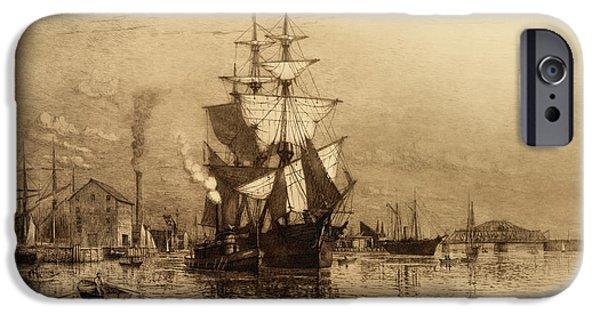 Historic Schooner iPhone Cases - Historic Seaport Schooner iPhone Case by John Stephens