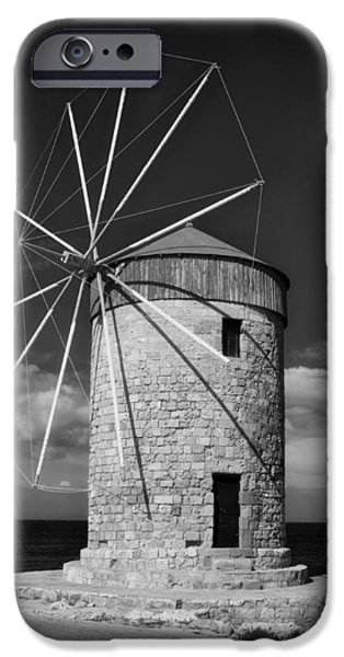 Rhodes iPhone Cases - Historic Windmill - Rhodes Greece iPhone Case by Mountain Dreams
