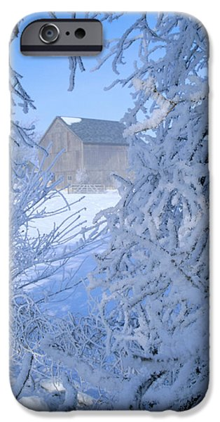 Recently Sold -  - Wintertime iPhone Cases - Hoarfrost Farm - Wisconsin Country iPhone Case by Bruce Thompson