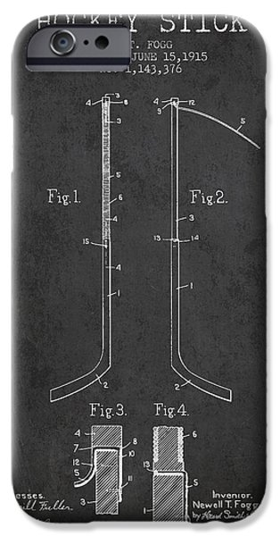 Hockey Art iPhone Cases - Hockey Stick patent Drawing from 1915 iPhone Case by Aged Pixel