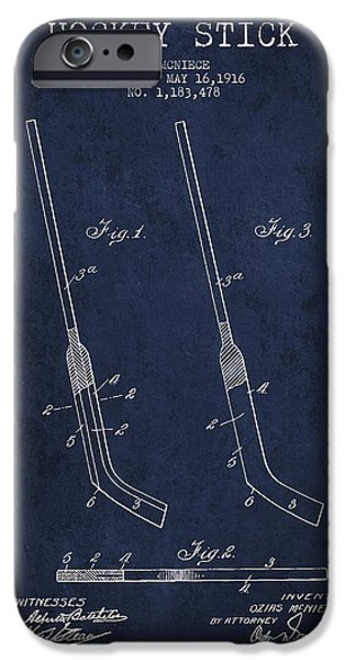 Hockey Art iPhone Cases - Hockey Stick Patent Drawing From 1916 iPhone Case by Aged Pixel