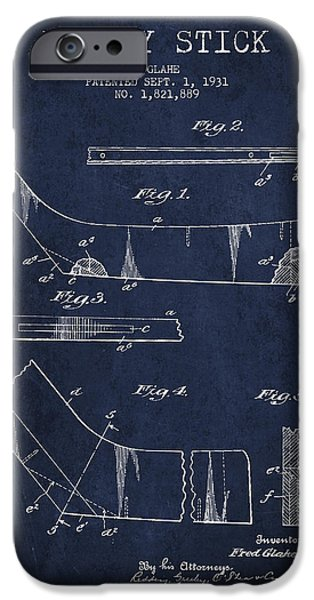 Hockey Game iPhone Cases - Hockey Stick Patent Drawing From 1931 iPhone Case by Aged Pixel