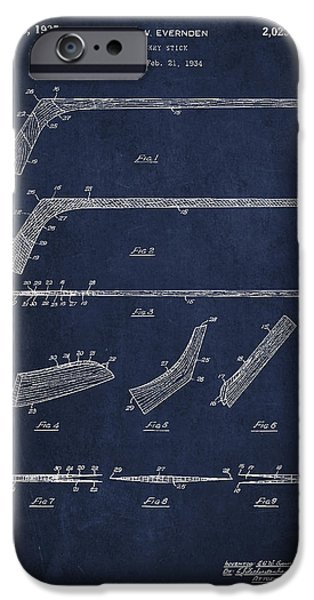 Hockey Game iPhone Cases - Hockey Stick Patent Drawing From 1934 iPhone Case by Aged Pixel