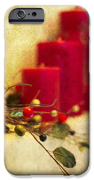 Christmas Photographs iPhone Cases - Holiday Candles iPhone Case by Rebecca Cozart