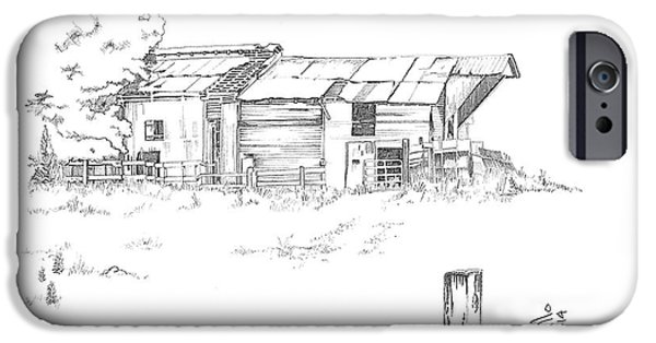 Old Barns Drawings iPhone Cases - Hollow iPhone Case by Andooga Design