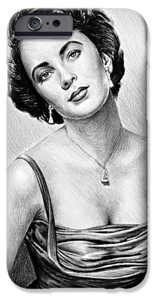 1950s Movies iPhone Cases - Hollywood Greats  Elizabeth Taylor iPhone Case by Andrew Read
