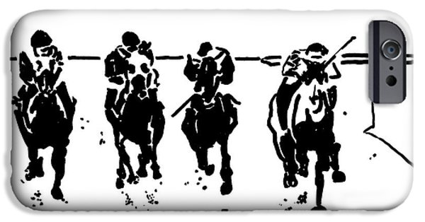 Kentucky Derby Drawings iPhone Cases - Home Stretch iPhone Case by Andooga Design