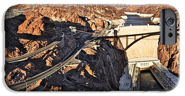 Technology iPhone Cases - Hoover Dam From Bridge, Lake Mead iPhone Case by Panoramic Images