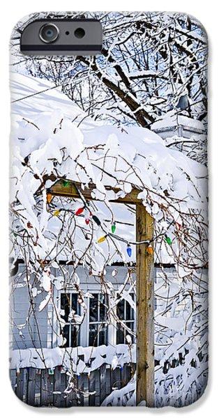 Heavy Weather iPhone Cases - House under snow iPhone Case by Elena Elisseeva
