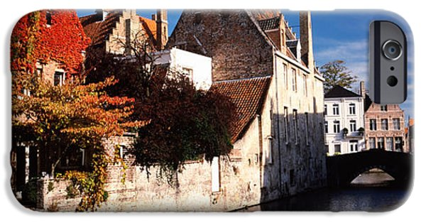 Flemish iPhone Cases - Houses Along A Channel, Bruges, West iPhone Case by Panoramic Images