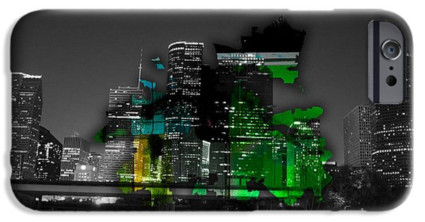 City Skyline iPhone Cases - Houston Texas Map and Skyline Watercolor iPhone Case by Marvin Blaine
