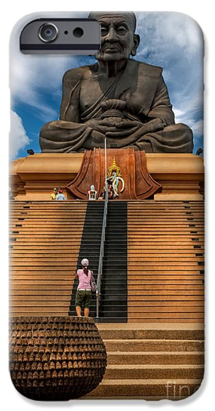 Buddhism Digital iPhone Cases - Huay Mongkol Temple iPhone Case by Adrian Evans