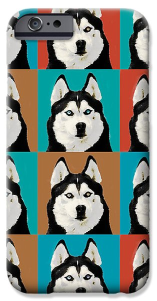 Huskies Digital Art iPhone Cases - Husky Pop Art iPhone Case by Susan Stone