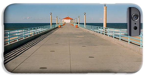 Built Structure iPhone Cases - Hut On A Pier, Manhattan Beach Pier iPhone Case by Panoramic Images