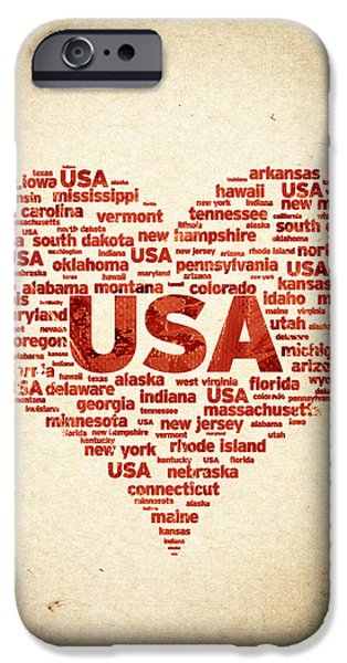 Arkansas Mixed Media iPhone Cases - I Love USA iPhone Case by Aged Pixel