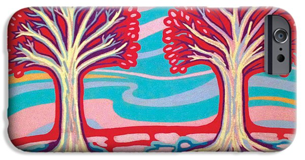 Tree Roots Pastels iPhone Cases - Ice Cream Trees iPhone Case by Mike Manzi