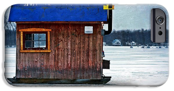 Cabin Window iPhone Cases - Ice Fishing Cabin iPhone Case by Sophie Vigneault