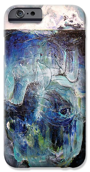 Conscious Paintings iPhone Cases - Iceberg iPhone Case by Tanya Kimberly Orme