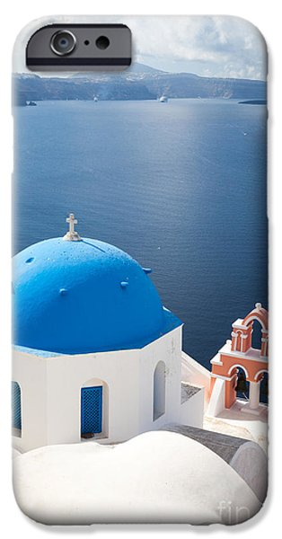 Iconic blue domed churches in Oia Santorini Greece iPhone Case by Matteo Colombo