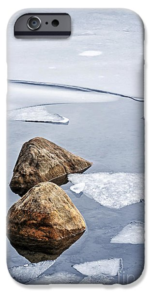 Frozen Lake iPhone Cases - Icy shore in winter iPhone Case by Elena Elisseeva