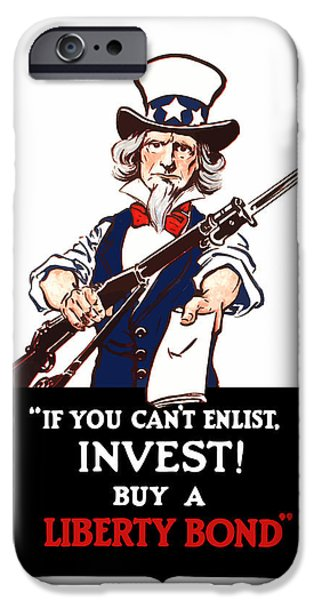 Uncle Sam iPhone Cases - If You Cant Enlist Invest iPhone Case by War Is Hell Store