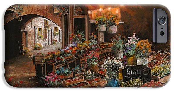 Vase iPhone Cases - Il Mercato Dei Fiori iPhone Case by Guido Borelli