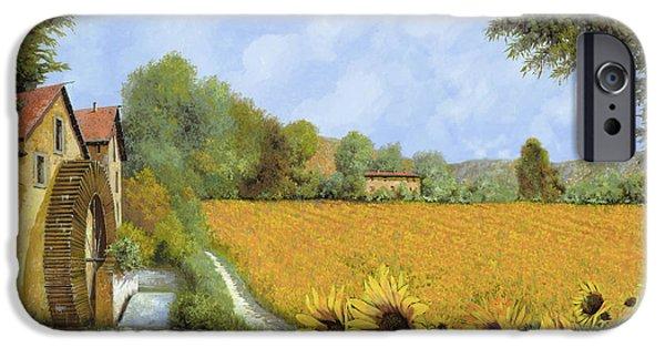 Road Paintings iPhone Cases - Il Mulino E I Girasoli iPhone Case by Guido Borelli