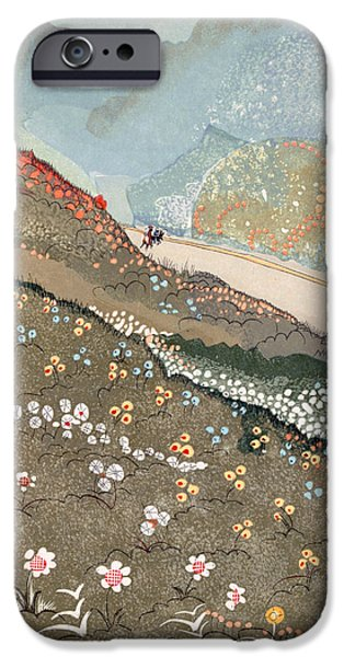 Meadow Drawings iPhone Cases - Illustration for Kim by Rudyard Kipling iPhone Case by Francois-Louis Schmied