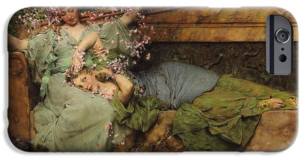 Girls In Pink iPhone Cases - In a Rose Garden iPhone Case by Sir Lawrence Alma Tadema