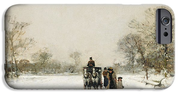 Winter Wonderland iPhone Cases - In the Snow iPhone Case by Luigi Loir