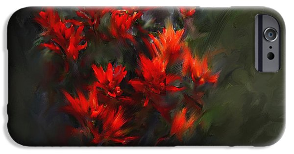 Abstract Digital Paintings iPhone Cases - Indian Paintbrush iPhone Case by Barbara Milton