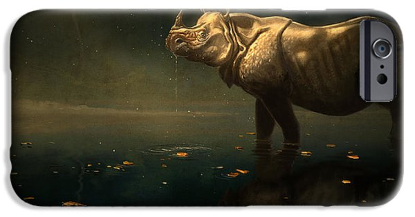 Rhino iPhone Cases - Indian Rhino iPhone Case by Aaron Blaise