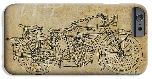 Ink On Paper iPhone Cases - Indian V Twin 1914 iPhone Case by Pablo Franchi