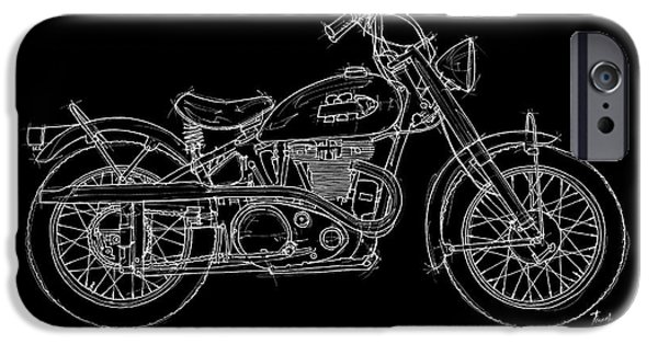Bicycle Drawings iPhone Cases - Indian Warrior TT 1950 iPhone Case by Pablo Franchi