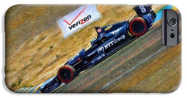 Indy Car iPhone Cases - Indy Cars Ryan Briscoe Going  Down Hill iPhone Case by Blake Richards