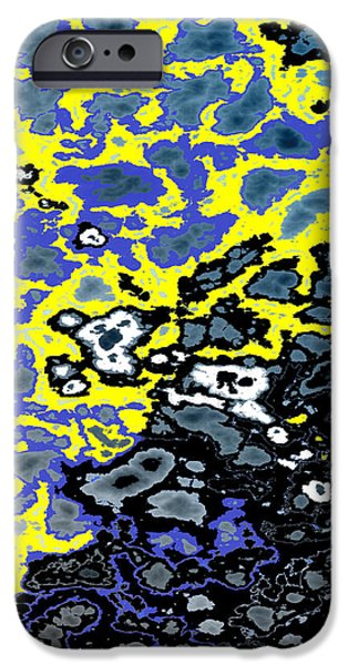 Infiltration Blue and Yellow iPhone Case by Gillian Owen