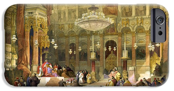 Sepulchre Drawings iPhone Cases - Inside the Church of the Holy Sepulchre iPhone Case by Munir Alawi