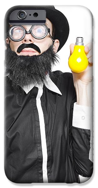 Analytic iPhone Cases - Inspiration Man Showing Light Bulb Creativity iPhone Case by Ryan Jorgensen