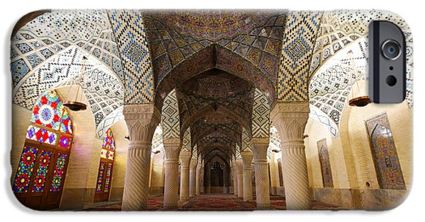 Persian Carpet iPhone Cases - Interior of the winter prayer hall of the Nazir ul Mulk Mosque in Shiraz Iran iPhone Case by Robert Preston
