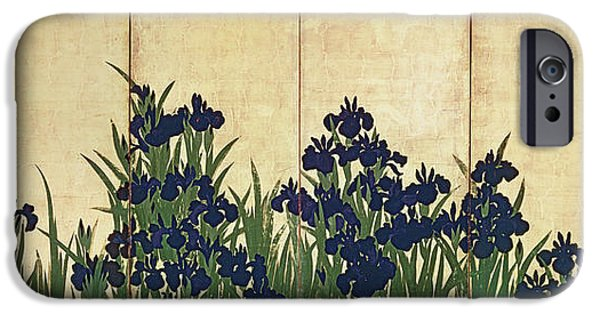 Oriental iPhone Cases - Irises iPhone Case by Ogata Korin