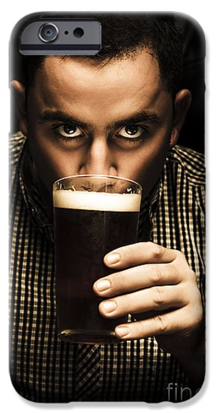 1950s Portraits iPhone Cases - Irish man drinking beer on St Patricks Day iPhone Case by Ryan Jorgensen