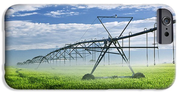 Technology iPhone Cases - Irrigation equipment on farm field iPhone Case by Elena Elisseeva