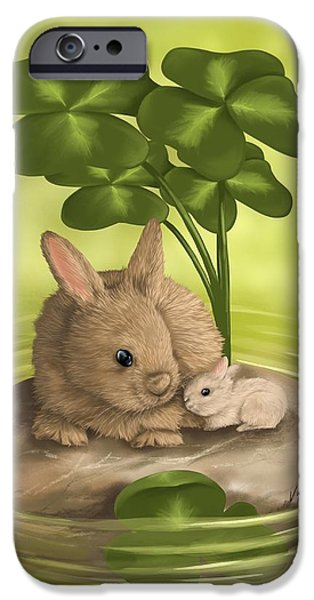 Rabbit iPhone Cases - Island of happiness iPhone Case by Veronica Minozzi